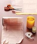 imagen Porta velas con vasos y papel seda