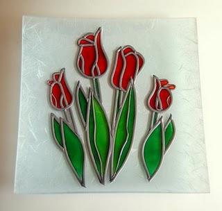 Bandeja con plomo y pintura vitral 1