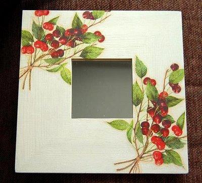 Espejo malma decorado con servilleta