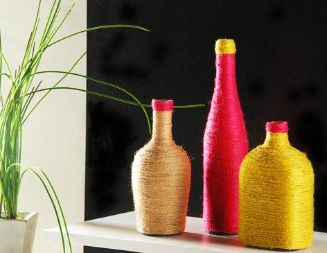 Decoracion hogar y manualidades botellas decoradas for Adornos para hogar