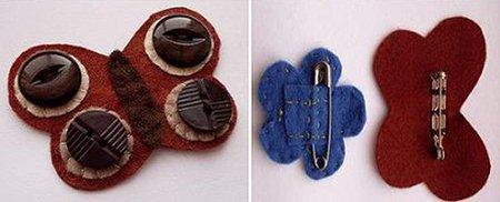 Broches con fieltro y botones para niñas2