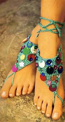 Tejido a crochet apliques coloridos para los pies