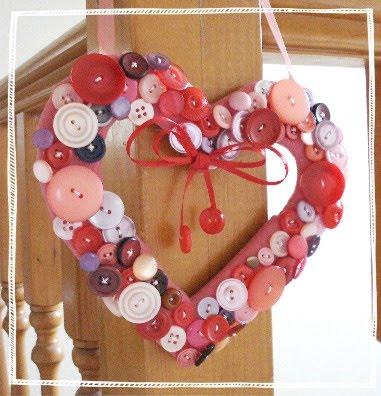 Manualidades del Dia de los Enamorados Corazón de botones