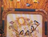 imagen Punto Cruz: tiernos pajaritos para decorar una bandeja