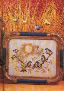 Punto Cruz tiernos pajaritos para decorar una bandeja