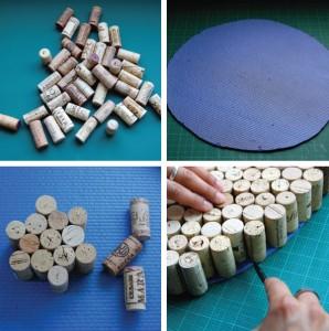 Reciclando en el hogar alfombra hecha con corchos2