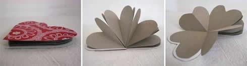 Manualidades con papel libreta corazón