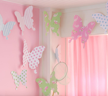 Manualidades con papel mariposas para la pared1l