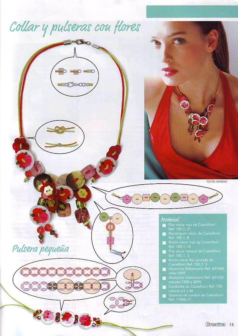 Manualidades con abalorios y botones: collar y pulsera Artículo ...