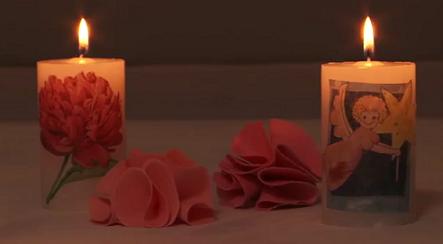 Decorar velas con decoupage
