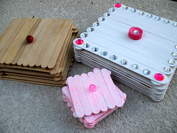 Joyero con palitos de madera gu a de manualidades - Articulos de madera para manualidades ...