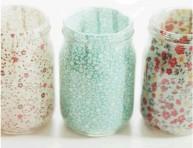 imagen Porta velas con frascos y tela
