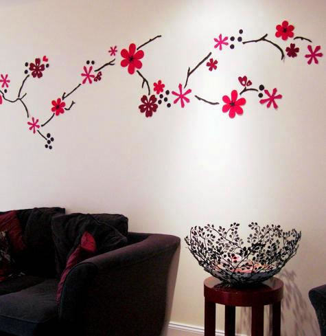 Dise o en fieltro para la pared gu a de manualidades - Paredes pintadas con dibujos ...