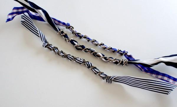 pulseras con tela y cadenas