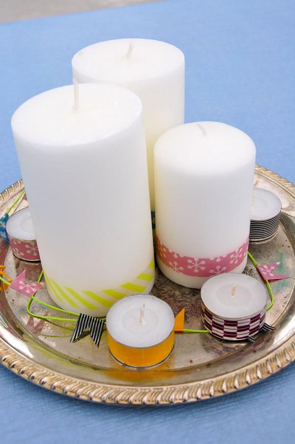 Centro de mesa con velas y cinta washi 1