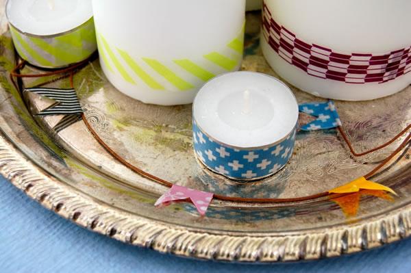 Centro de mesa con velas y cinta washi 2