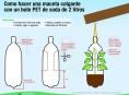 imagen Macetas colgantes con botellas plásticas