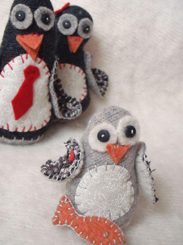 Pingüinos de fieltro