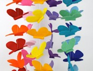 imagen Móvil con mariposas de fieltro