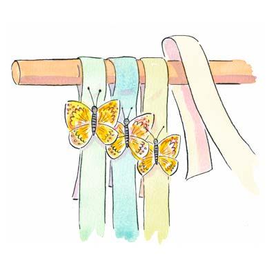 Cortina de cintas y mariposas gu a de manualidades - Ganchos para colgar cortinas ...