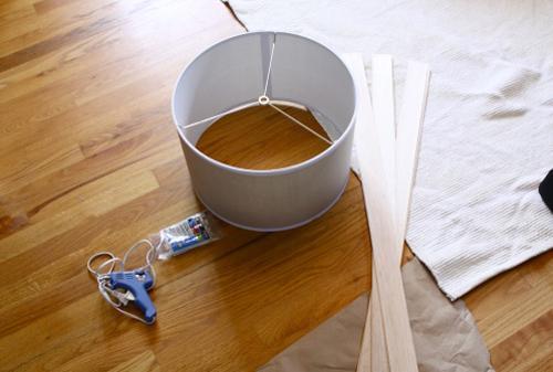 Pantalla para lmpara con madera de balsa Gua de MANUALIDADES