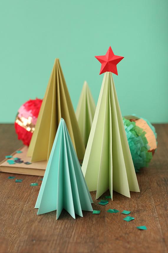 Arboles De Navidad Con Papel Plegado Guia De Manualidades - Manualidad-arbol-navidad