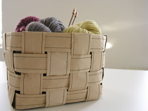 Cesto para lanas con bolsas de papel