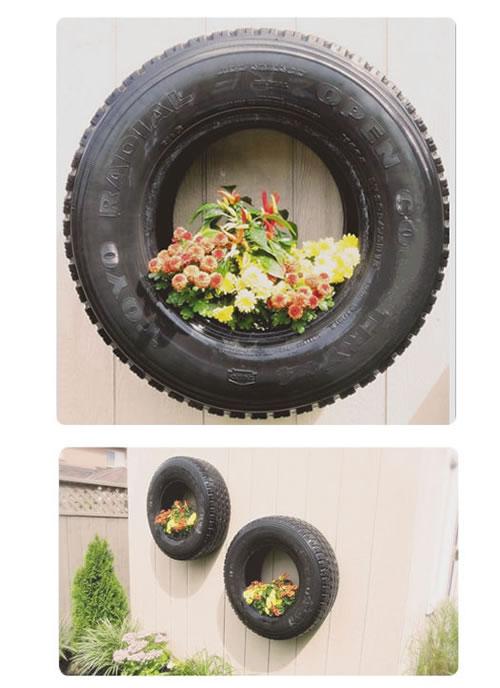 Maceteros con neumáticos