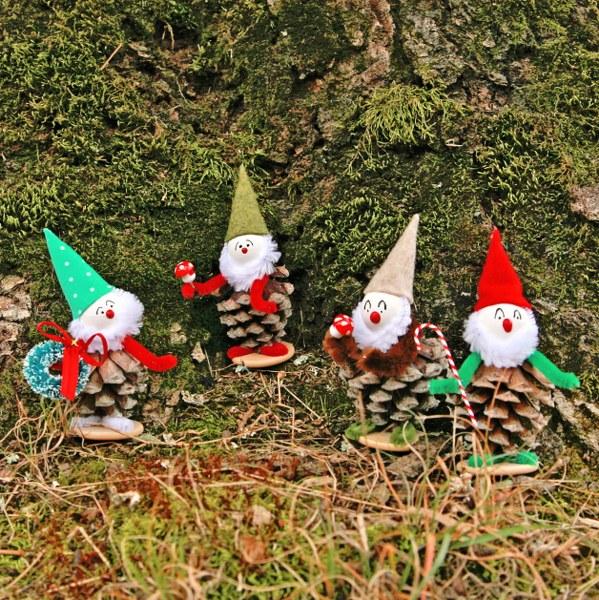 C mo hacer figuras de elfos gu a de manualidades - Adornos navidad con pinas ...