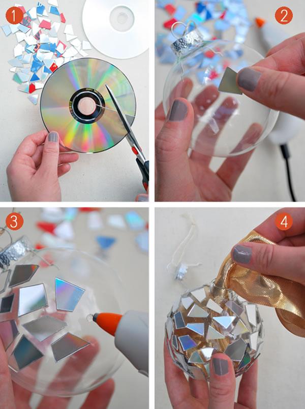 Bolas navideñas con cds 2