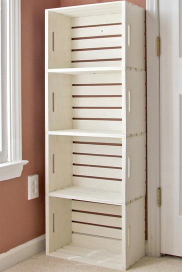 estantera con cajas de madera 1 - Estanterias Con Cajas