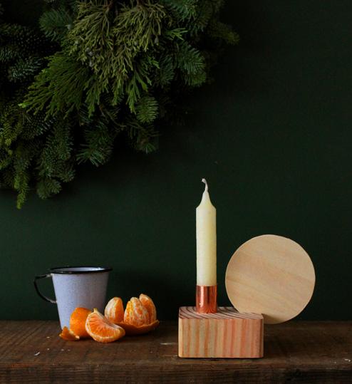 Candelabro de madera y cobre 1