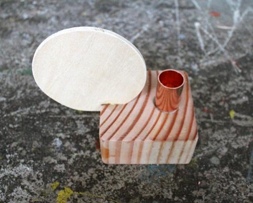 Candelabro de madera y cobre 6