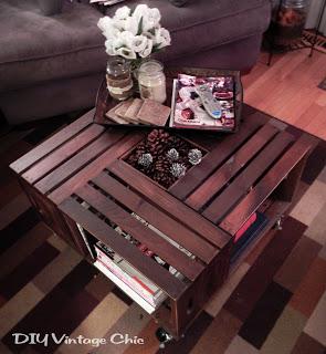 Mesa de centro con cajas de madera gu a de manualidades - Mesas con cajas de madera ...