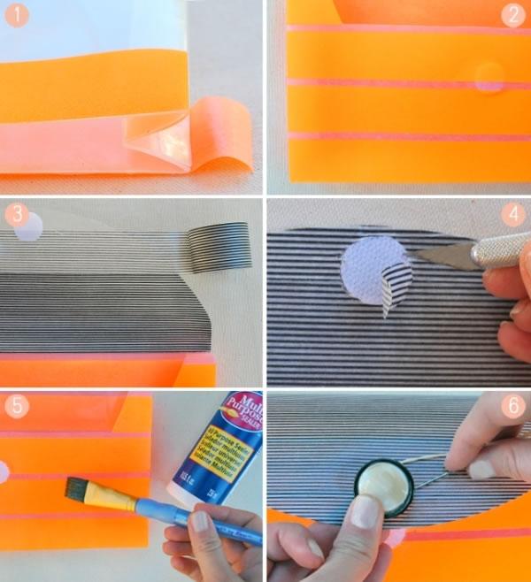 Bolso de mano decorado con cinta washi 3