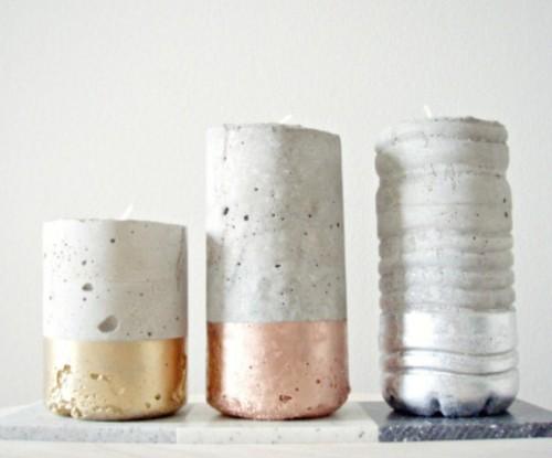 Portavelas de cemento