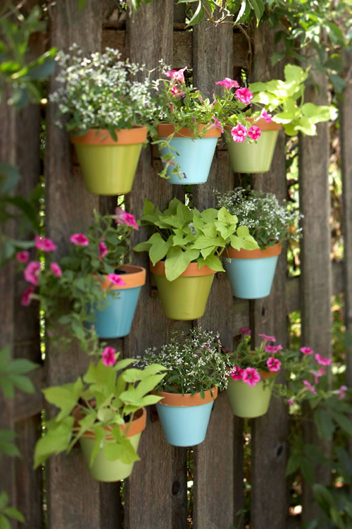 Jardín vertical de macetas