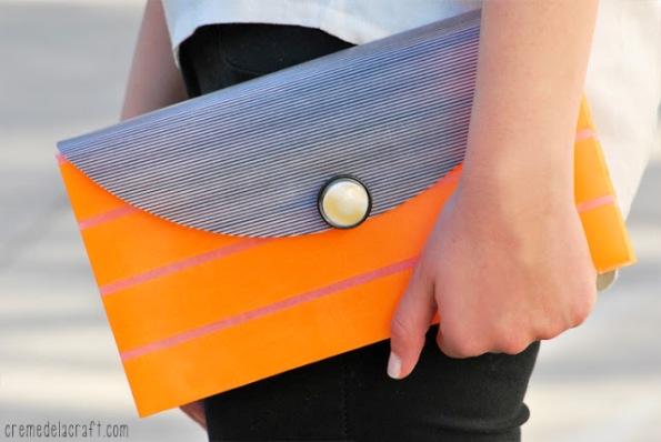 Bolso de mano decorado con cinta washi 1