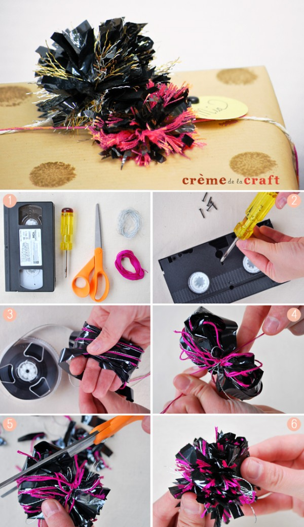 Pompones con cintas de cassettes y videos 3