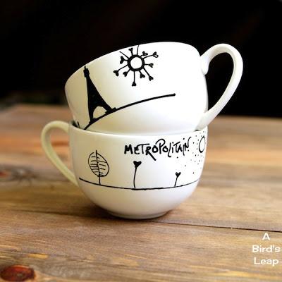 Tazas de capuccino decoradas con marcadores gu a de for Fabricantes de ceramica en mexico