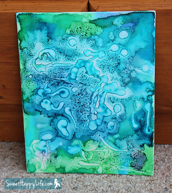 Pintura con acuarela, sal y cola 3
