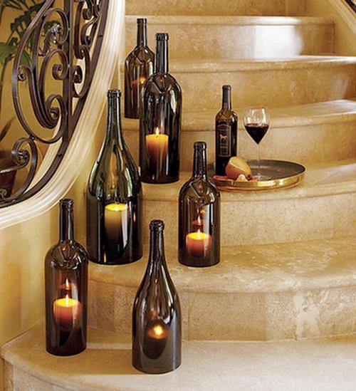 Centro de mesa con botellas de vino 1