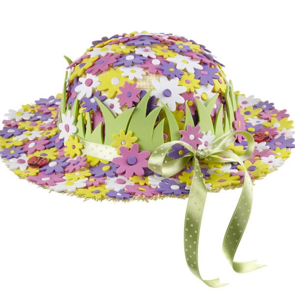 Sombrero con flores de goma eva 1