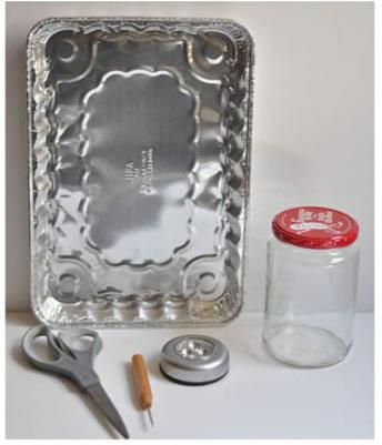Lámpara con frasco y aluminio 2