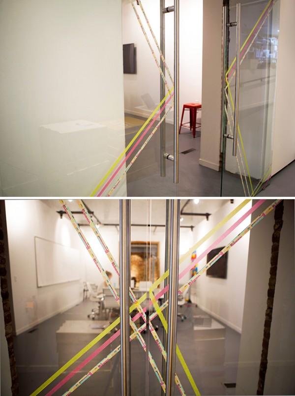 Puertas de cristal decoradas con cinta washi 5
