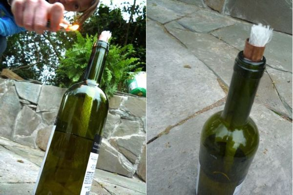 Antorcha con una botella de vino 1