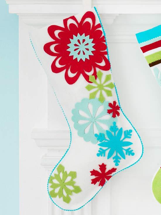 Snowflake Felt Christmas Stocking