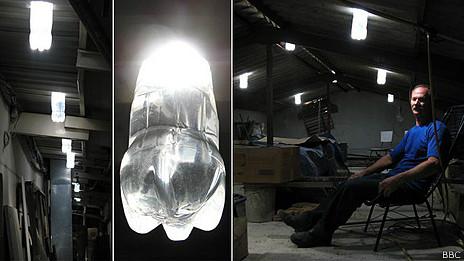 Iluminar con una botella