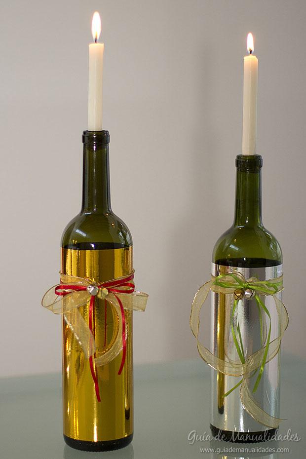 Portavela navideño con botellas 1