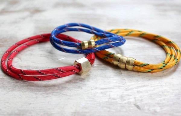 Pulseras de cuerda y metal 1